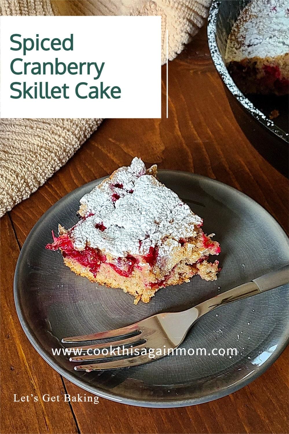 Spiced Cranberry Skillet Cake pinterest image