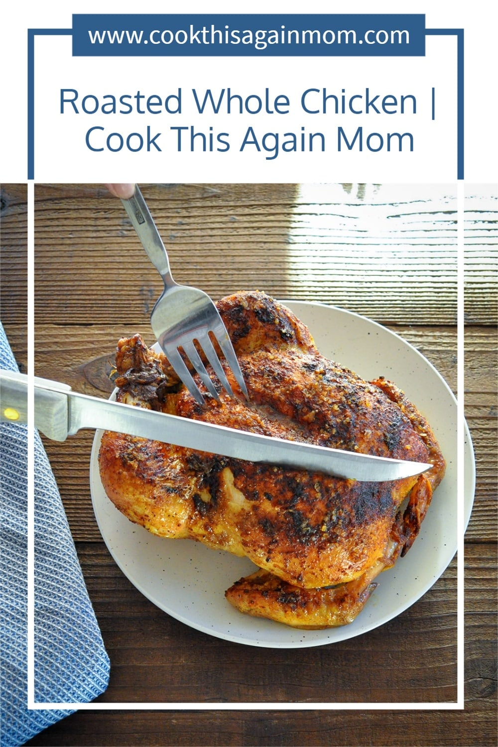 pinterest image for whole roasted chicken