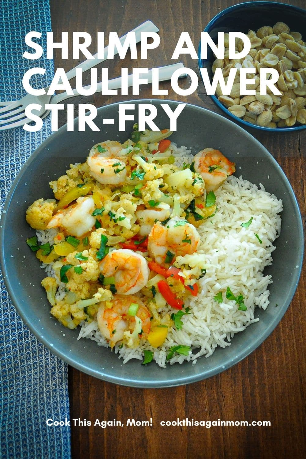 shrimp cauliflower with rice pinterest image
