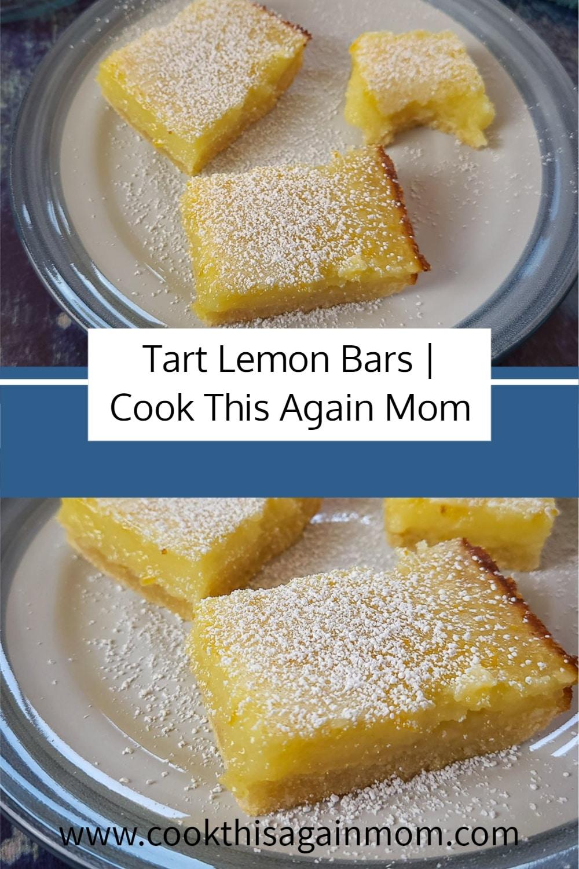 pinterest image of lemon bars on a plate