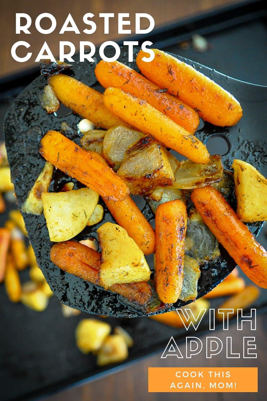 roasted carrots on a spatula pinterest image