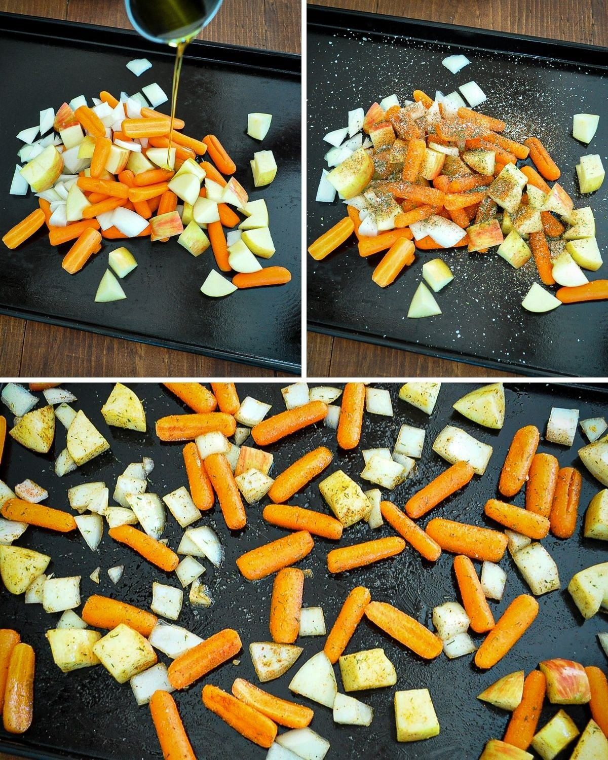 roasted carrots preparation collage