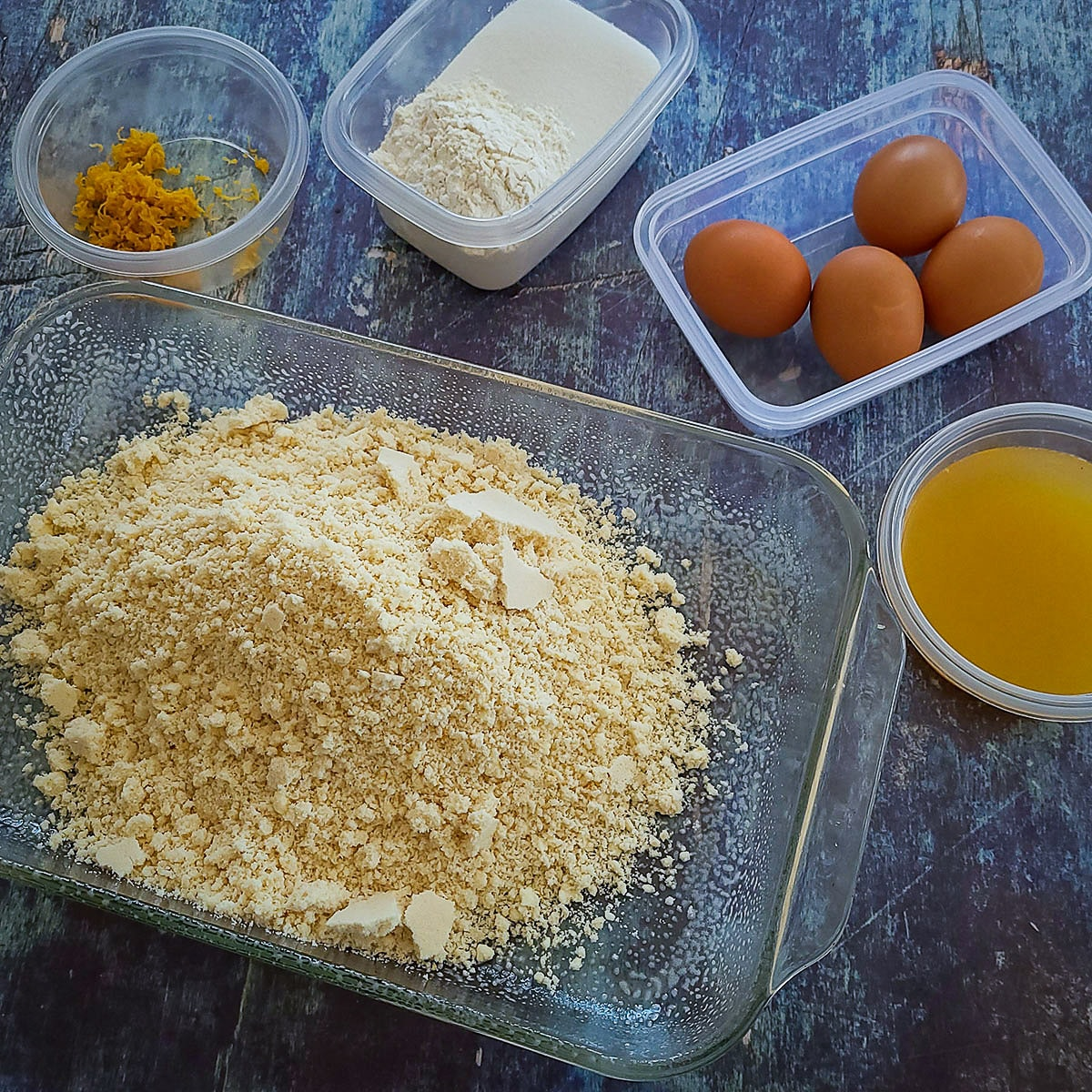 ingredients laid out for lemon bar cookies