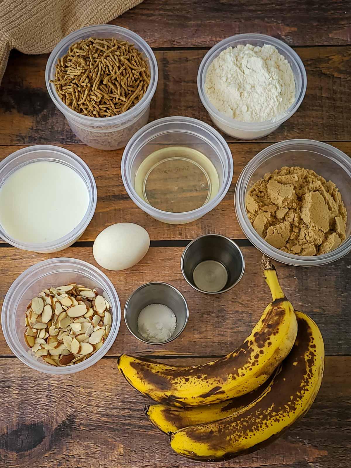 ingredients to make banana bran muffins