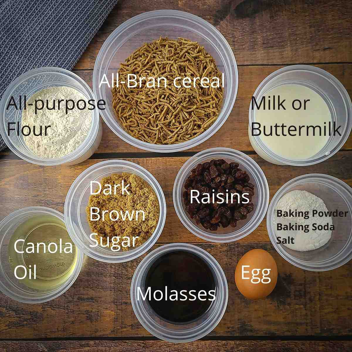 ingredients measured out for bran muffins
