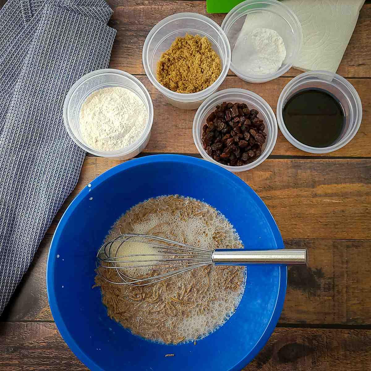 mixing bran muffin batter