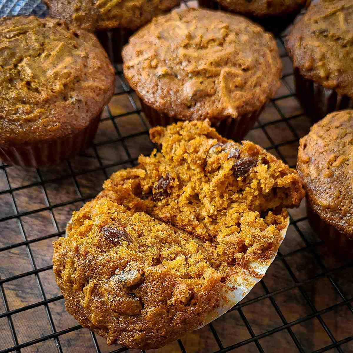 a close-up photo of a split open molasses bran muffin