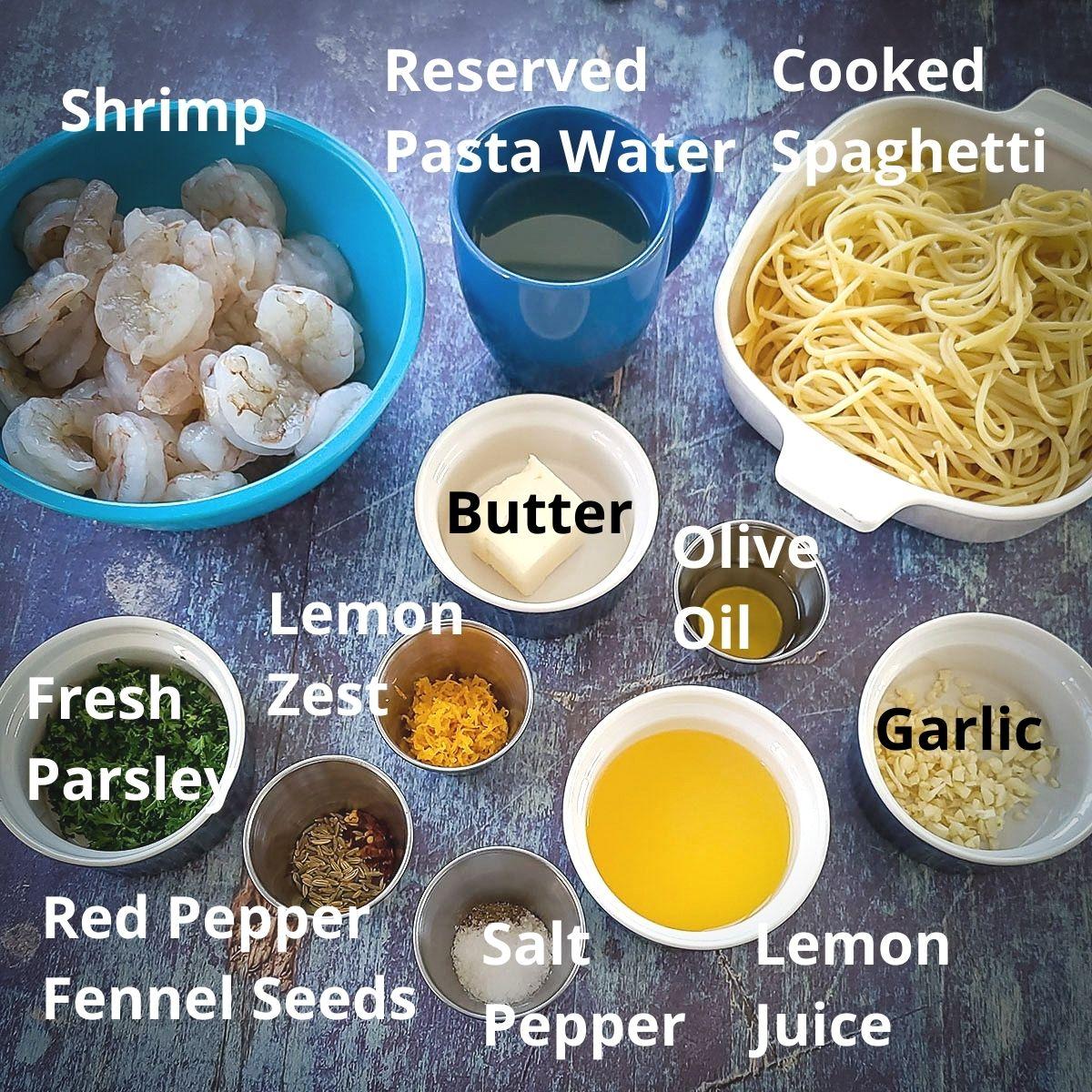 ingredients needed for lemon fennel shrimp