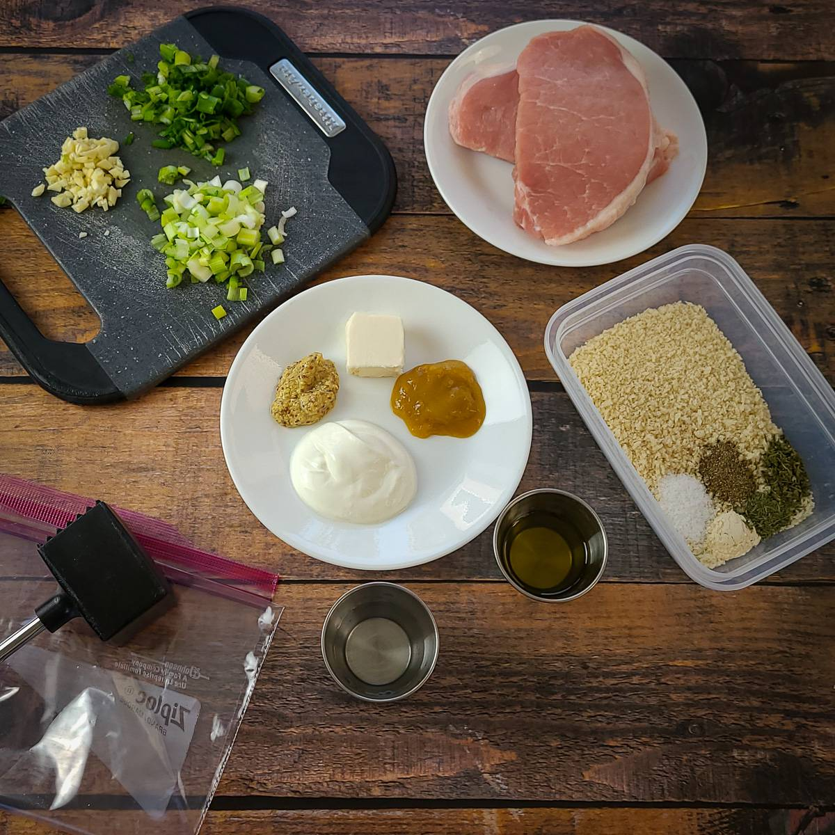 ingredients laid out for panko pork chops and dijon sauce