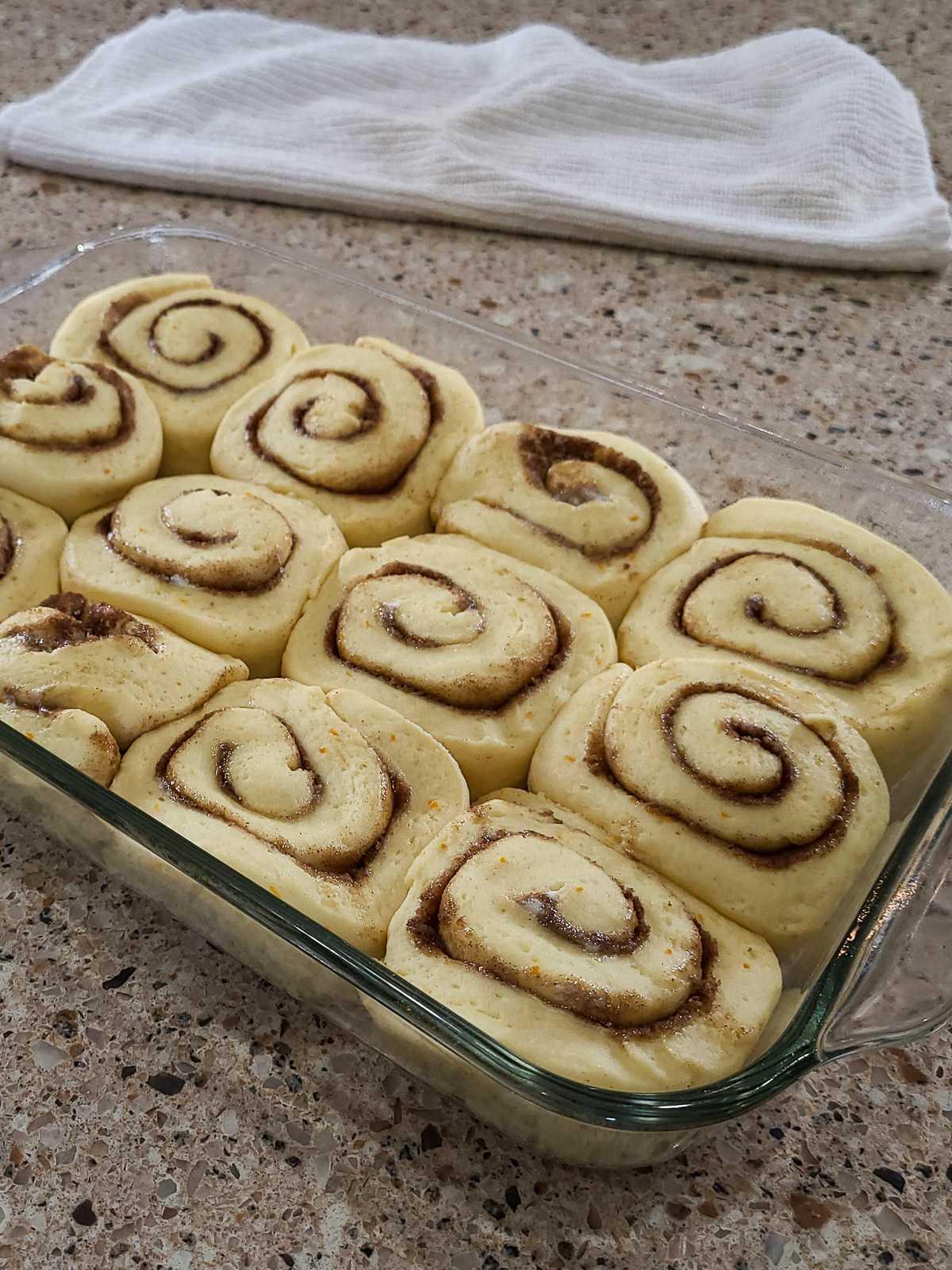 raised cinnamon rolls ready to bake