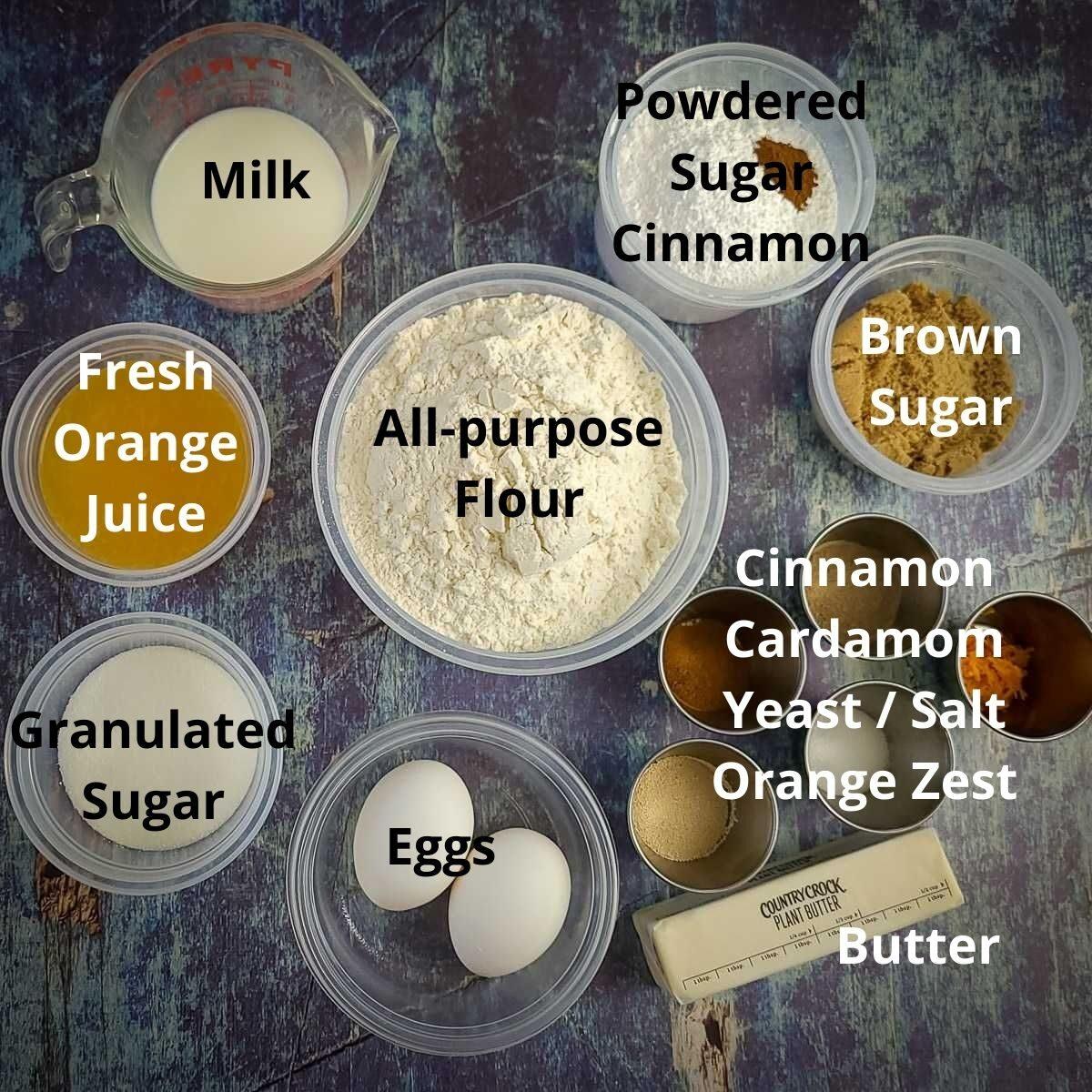 measured out ingredients for orange cinnamon rolls