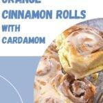 pinterest image for orange cinnamon rolls.