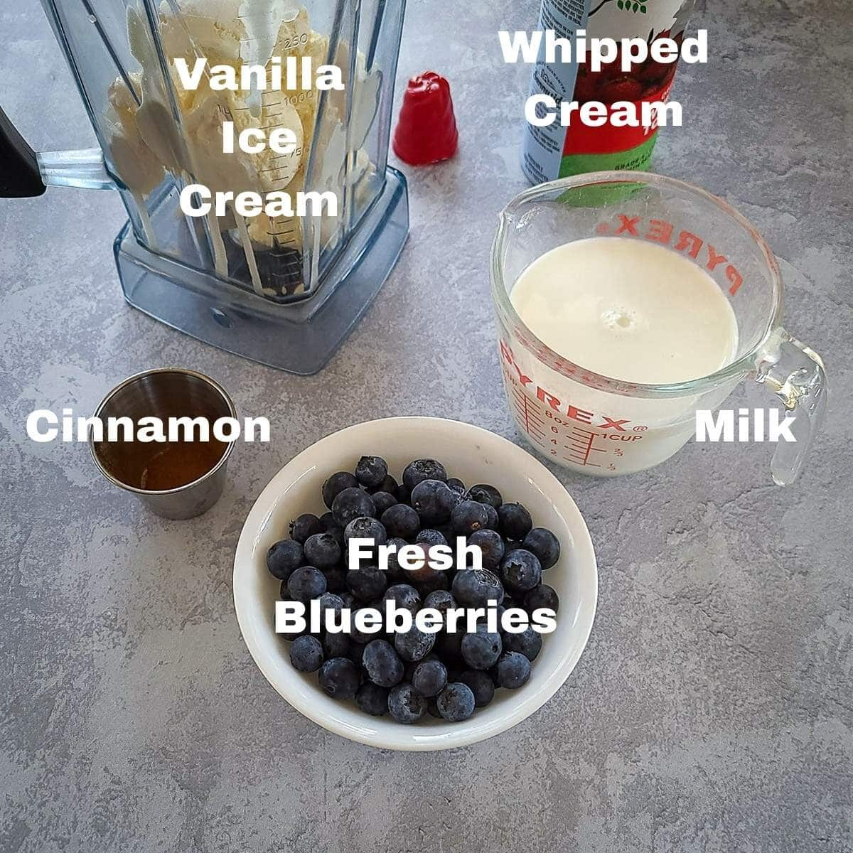 labeled ingredients shown for a blueberry milkshake