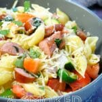 Pinterest image for veggies and sausage with pasta