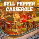 pinterest image for bell pepper casserole