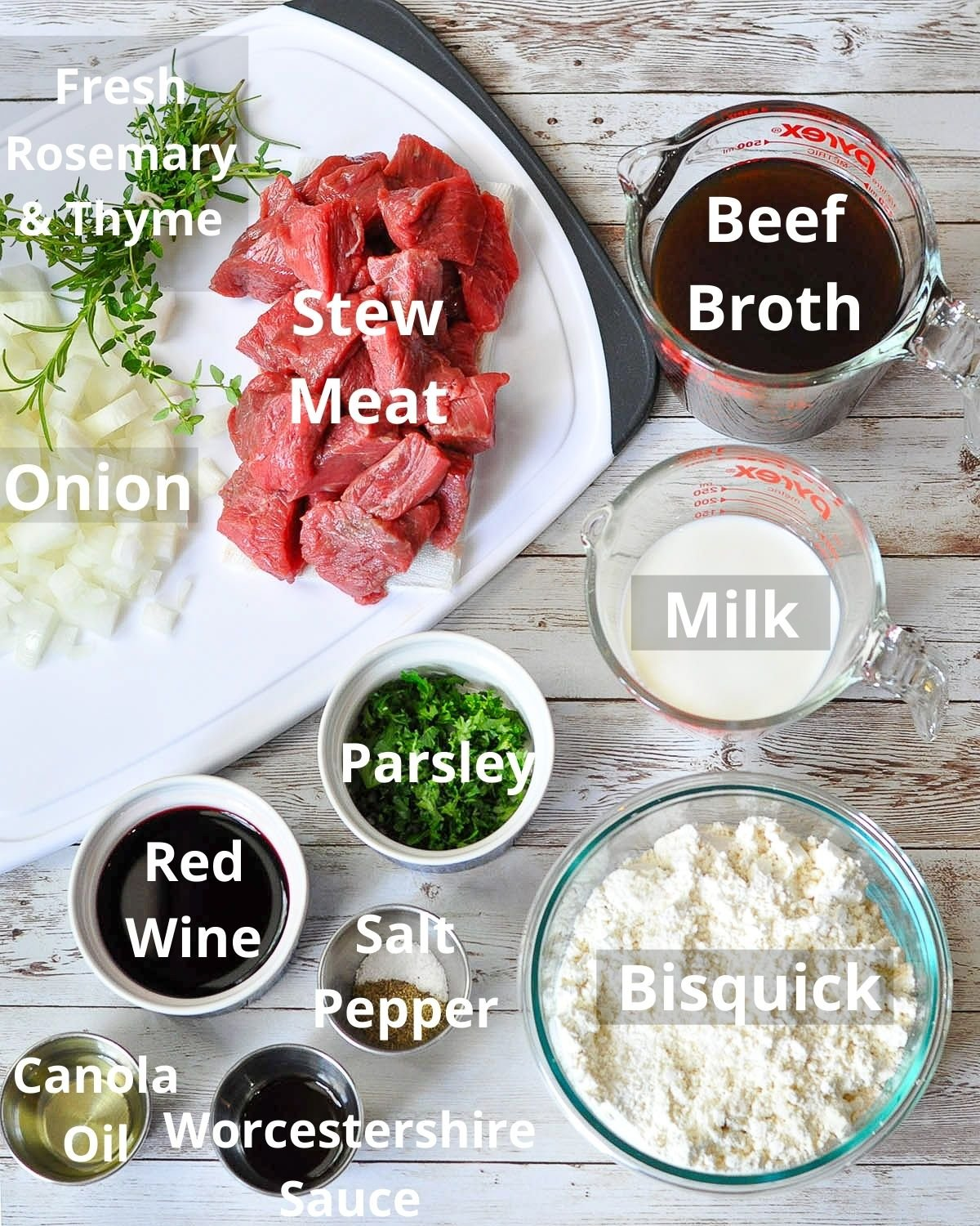 labeled photo of ingredients for beef and dumplings
