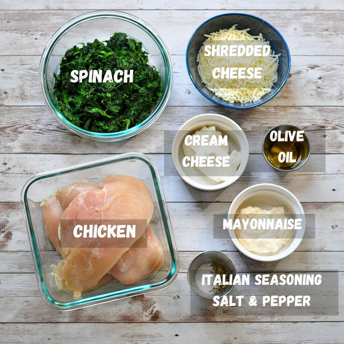 labeled picture of ingredients for cheesy spinach chicken