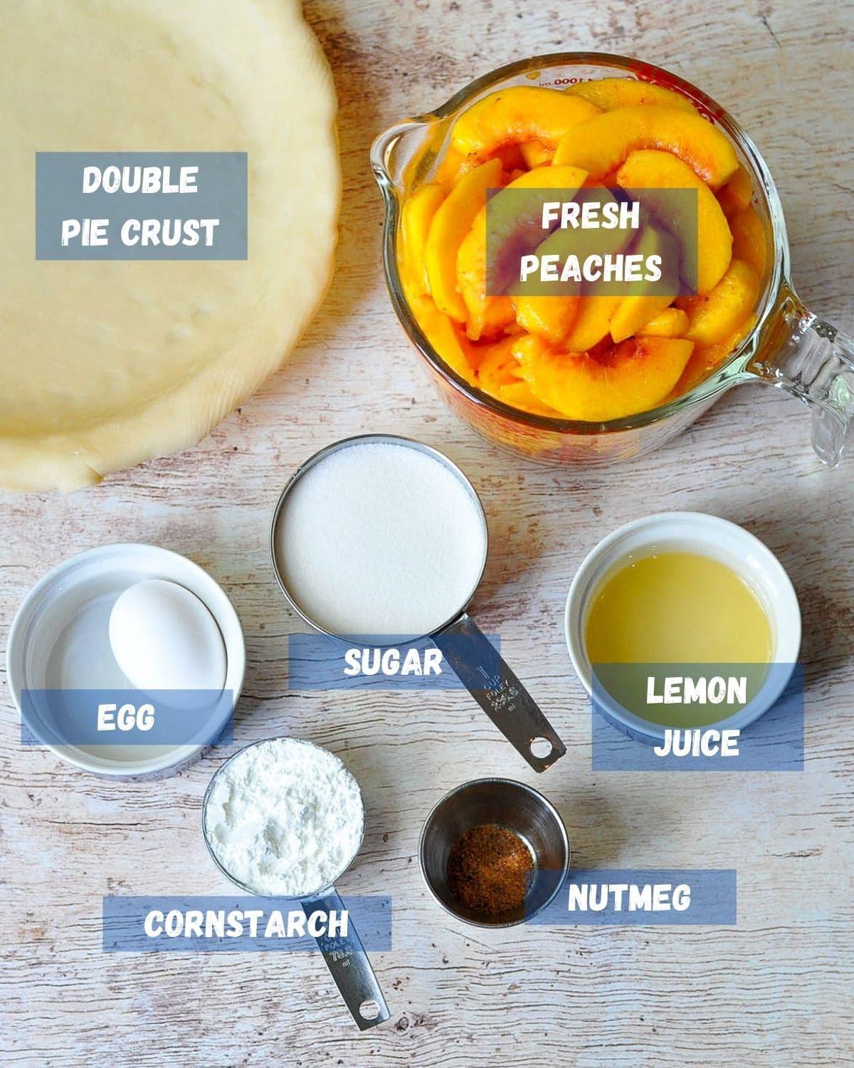 a labeled photo of ingredients for peach pie